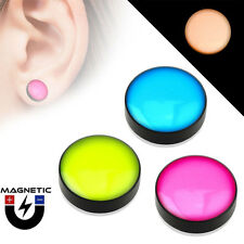Pair of Fake Magnetic Ear Plugs - Dome Top - Black Acrylic - Glow in the Dark