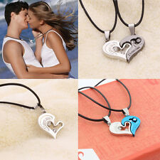 Vogue Lover Couple Stainless Steel Necklace I Love You Heart Shape Pendant Gifts