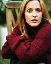 GILLIAN ANDERSON PORTRAIT IN RED SWEATER PHOTO OR POSTER