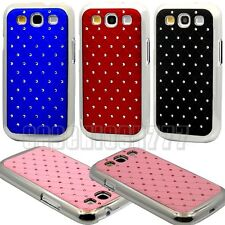 for samsung galaxy S3 w/ stone bling back case silver n black blue burgundy pink