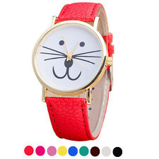 New Fashion Womens Watch Cat face Pattern Leather Band Analog Quartz Wrist Watch