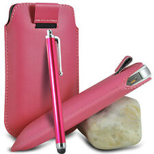 VARIOUS PHONES LIGHT PINK PULL TAB LEATHER POUCH CASE COVER W/ BIG STYLUS PEN