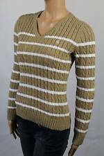 Ralph Lauren Tan Cable Knit V-neck Sweater White LRL NWT
