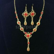 Diamante Sparkling Flower & Teardrop Necklace And Earrings Set Bridal Jewellry