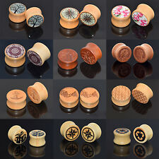 Pair Ear Tunnels Plugs Wood Ear Gauges Wooden Saddle Plugs Body Piercing Jewelry