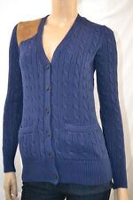 Ralph Lauren NAVY BLUE CABLE KNIT SUEDE CARDIGAN SWEATER NWT