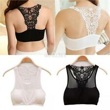 Sexy Lace Racer Back Racerback NO Padded Tube Top Bandeau Crop Stretch Bra Vest