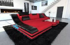 Sectional Fabric Sofa TURINO L Shaped Couch with LED Lights colour selection