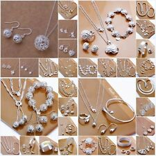 Wholesale Solid Silver Jewelry Set Necklace Earring Ring Bracelet+Box Fashion