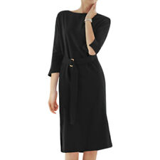 Women Crew Neck 3/4 Dolman Sleeves Split Sides Midi Dress w Belt