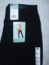 Lee Relaxed Fit Straight Leg Womens Stretch Black Denim Jeans Petite Sizes New