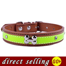 Dog Collar Leather Bone Shaped Collar Charm Crystal Studded Collar Personalized