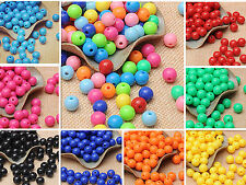 100 MIX PASTEL COLOR 8mm PLASTIC ROUND Beads FOR CRAFT Spacer Loose Beads