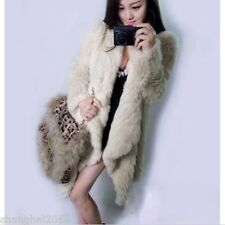 New ! 100% Real Genuine Knitted Rabbit Fur Jacket Coat Outwear Garment Clothi