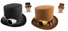 Deluxe High Crown Felt Top Hat Bell Topper & Steampunk Goggles Costume Accessory