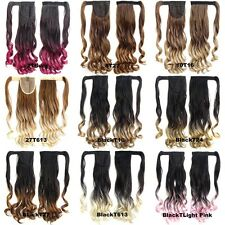 Clip In On Dip Dye Ombre Wavy Curly Ponytail Hair Extensions Wrap On Hair Piece