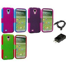 Color Hybrid Mesh Hard/Soft Skin Case for Samsung Galaxy S4 i9500 Charger