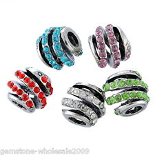 Wholesale Lots Mixed European Beads Hollow Spiral  Rhinestone Charm Bracelets