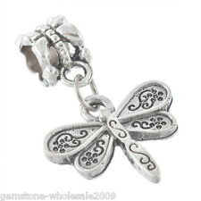 Wholesale Lots Dragonfly European Charm Dangle Beads Fit Bracelet Silver Tone