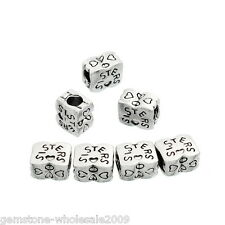 """Wholesale Lots European Charm Beads """"SISTERS"""" Heart Silver Tone 12mmx10mm"""