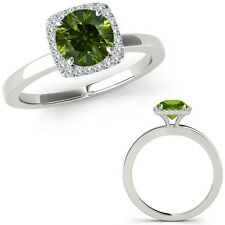 1 Carat Green Diamond Fancy Solitaire Halo Wedding Band Ring 14K White Gold