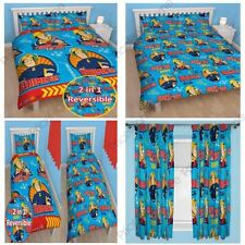 """FIREMAN SAM BRAVE SINGLE / DOUBLE ROTARY DOONA COVER & 54"""" OR 72"""" CURTAINS"""