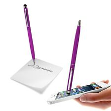 CAPACITIVE DUAL FUNCTION STYLUS PEN PURPLE SOFT TOUCH FOR VARIOUS MOBILE PHONES