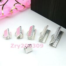 Silver Plated End Cord Crimps Beads Caps 6mm,8mm,10mm,13mm,16mm,20mm R0040