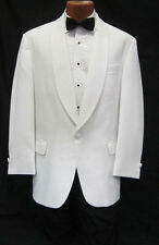 37L White Shawl Tuxedo Dinner Jacket Pants Bow Tie Prom Package Spring Formal