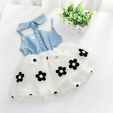 Fashion Girl Baby Princess Pageant Party Vest Skirt Denim Shirt Tulle Tutu Dress