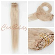 #24 Straight Blonde Clip in 100% Remy Real Human Hair Extensions Full Head 7pcs