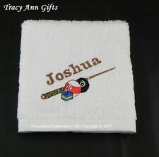 PERSONALISED GIFT FOR POOL PLAYERS - FACE CLOTHS/FLANNELS & TOWELS 100% COTTON