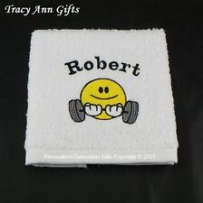 PERSONALISED GYM WEIGHTLIFTING SMILEY FACE CLOTHS/FLANNELS & TOWELS 100% COTTON