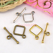 25Sets Tibetan Silver,Antiqued Gold,Bronze Square Connectors Toggle Clasps M1412