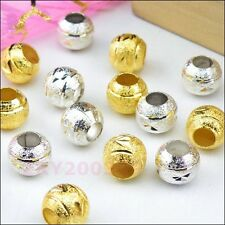 30Pcs 4mm-Hole Copper Spacer Beads 8mm Silver/Gold R0142