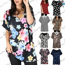 Womens Turn Up Batwing Oversized T-Shirt Ladies V Neck Baggy Top Loose Fit Tee