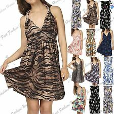Womens Ladies Midi Dress V Neck Floral Print Spring Coil Greek Jersey Short 8-22