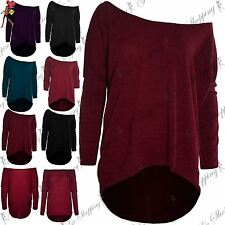 Womens Jumper Ladies One Off Shoulder Bardot Knit Lagenlook Layering Baggy Top