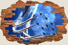 3D Hole in Wall Jet Fighter Planes View Wall Stickers Mural Art Decal 1125