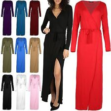 Womens Maxi Dresses Ladies Party Top Sash Tie Belt Wrap Front Slit Knot V Neck