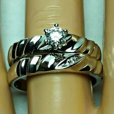 Sterling Silver Wedding set size 7 CZ Round cut Engagement Ring Bridal New z19