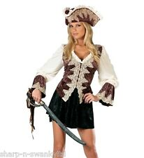 Ladies Sexy Deluxe Royal Pirate Party Fancy Dress Costume Outfit with Hat