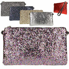 Glitter Clutch Bag Genuine Leather Wrist Shoulder Strap Zipped Italian Envelope