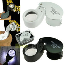 40x 25mm Glass Magnifying Magnifier Jeweler Eye Jewelry Loupe Loop Led Light USA