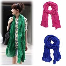 Candy Color Womens New Long Big Crinkle Voile Soft Scarf Wrap Shawl Girls Stole