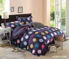 Single Double Queen King Size Bed Set Pillowcase Colorful Dots Quilt Duvet Cover