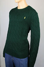 Polo Ralph Lauren Green Crewneck Cable-knit Sweater Yellow Pony NWT