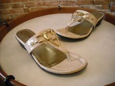 Marc Fisher Alining Natural Patent Nude Thong Sandal NEW