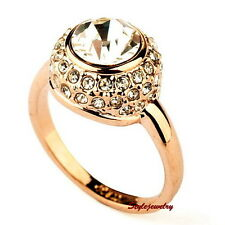 18k Rose Gold Plated Women Round Crystal Ring Made With Swarovski Crystal R85