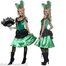 Ladies Saloon Girl Burlesque Brothel Wild West Fancy Dress Costume Outfit 8-18